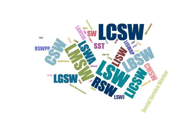word cloud of social work licenses
